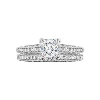 Tacori 201-2PR5 Platinum Princess Cut Art Deco Engagement Ring set