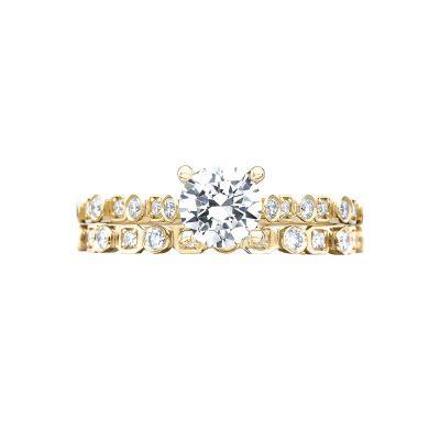 Tacori 201-2RD55Y Yellow Gold Round Art Deco Engagement Ring set