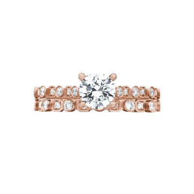 Tacori 201-2RD5PK Rose Gold Round Unique Classic Engagement Ring set