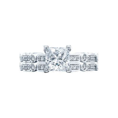 Tacori 202-2PR White Gold Princess Cut Unique Classic Engagement Ring set