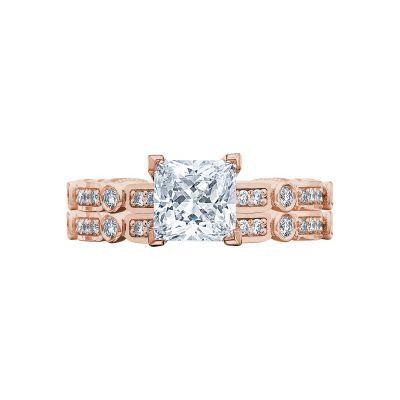Tacori 202-2PR5-PK Rose Gold Princess Cut Vintage Style Engagement Ring set