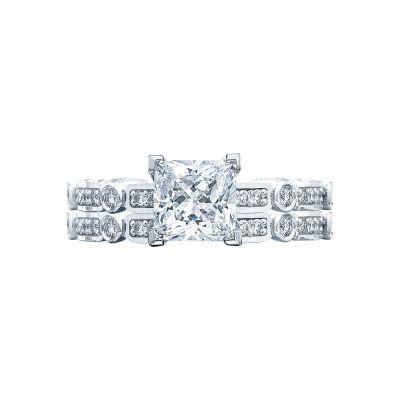 Tacori 202-2PR5 Platinum Princess Cut Art Deco Engagement Ring set