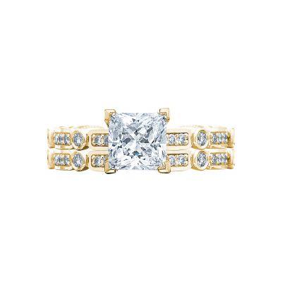Tacori 202-2PR5-Y Yellow Gold Princess Cut Art Deco Engagement Ring set