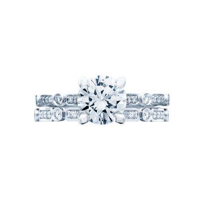 Tacori 202-2RD7 Platinum Round Vintage Style Engagement Ring set