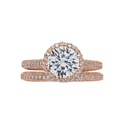 Tacori 2502RDP75-PK Rose Gold Round Vintage Halo Engagement Ring set