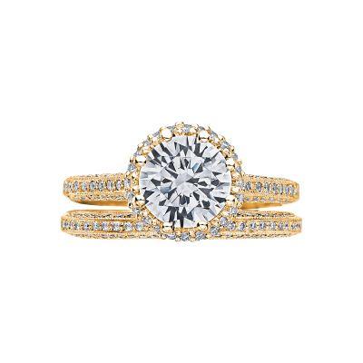Tacori 2502RDP75-Y Yellow Gold Round Classic Halo Engagement Ring set