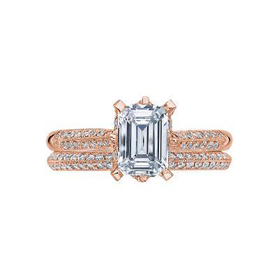 Tacori 2504EMP7X5-PK Rose Gold Emerald Cut Classic Pave Engagement Ring set