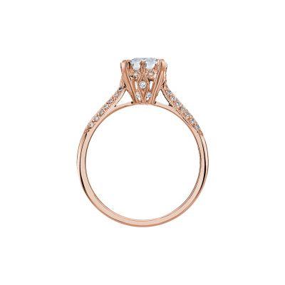 Tacori 2504EMP7X5-PK Rose Gold Emerald Cut Engagement Ring side