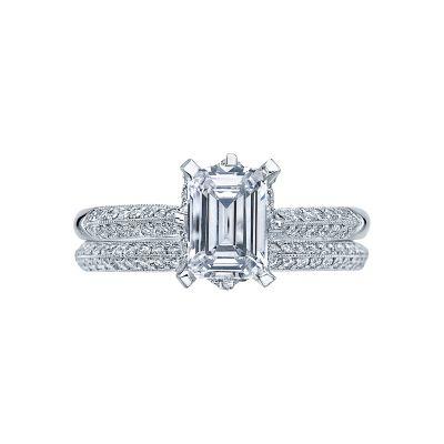 Tacori 2504EMP7X5 Platinum Emerald Cut Knife Edge Engagement Ring set