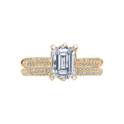 Tacori 2504EMP7X5-Y Yellow Gold Emerald Cut Unique Pave Engagement Ring set