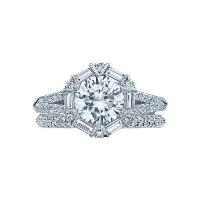 Tacori 2525RD White Gold Round Unique Halo Engagement Ring set