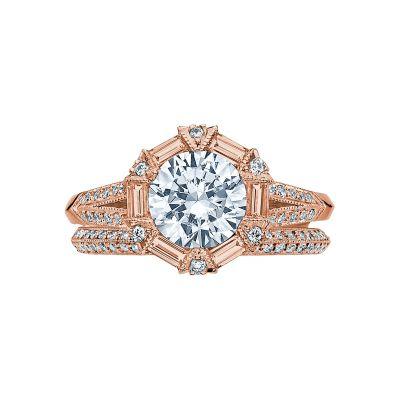 Tacori 2525RD7-PK Rose Gold Round Vintage Engagement Ring set