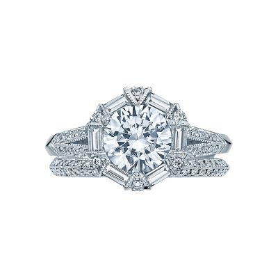 Tacori 2525RD7 Platinum Round Vintage Style Engagement Ring set
