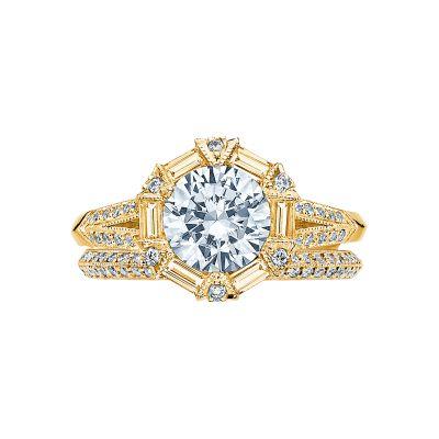 Tacori 2525RD7-Y Yellow Gold Round Vintage Halo Engagement Ring set