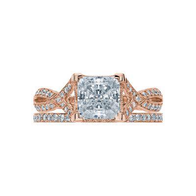 Tacori 2565PR65-PK Rose Gold Princess Cut Modern Twist Engagement Ring set