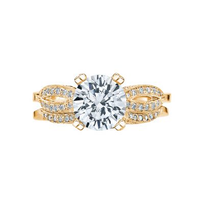 Tacori 2573MDRD75-Y Yellow Gold Round Split Band Engagement Ring set