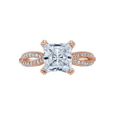 Tacori 2573PR7-PK Ribbon Rose Gold Princess Cut Engagement Ring