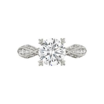 Tacori 2578RD Classic Crescent White Gold Round Engagement Ring