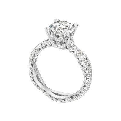 Tacori 2578RD White Gold Round Twist Shank Engagement Ring angle