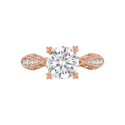 Tacori 2578RD8-PK Classic Crescent Rose Gold Round Engagement Ring