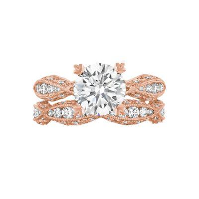 Tacori 2578RD8-PK Rose Gold Round Infinity Engagement Ring set