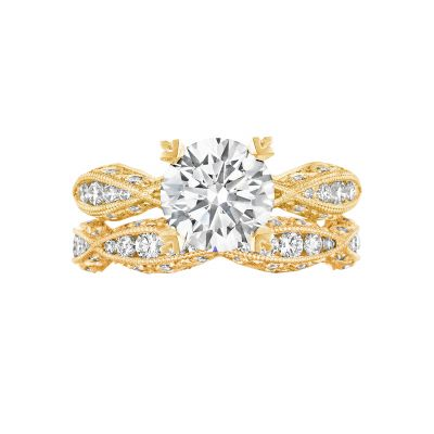 Tacori 2578RD8Y Yellow Gold Round Infinity Style Engagement Ring set