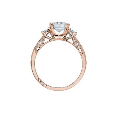 Tacori 2579EM85X65-PK Rose Gold Emerald Cut Engagement Ring side