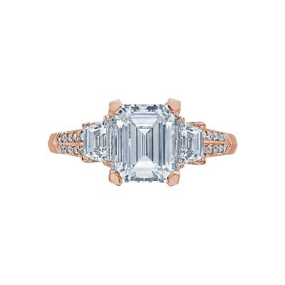 Tacori 2579EM85X65-PK Simply Tacori Rose Gold Emerald Cut Engagement Ring