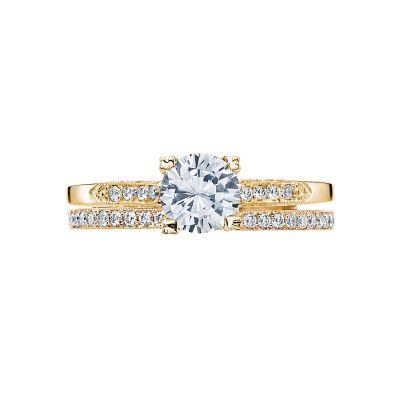 Tacori 2586RD6-Y Yellow Gold Round Elegant Simple Engagement Ring set