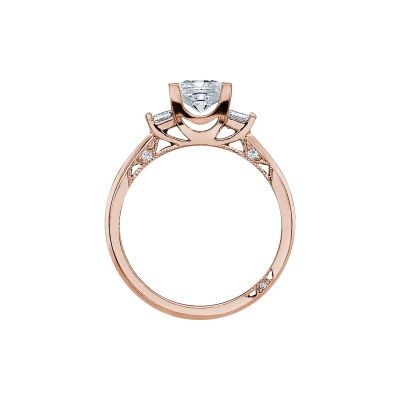 Tacori 2605PR55-PK Rose Gold Princess Cut Engagement Ring side
