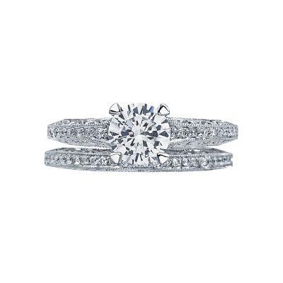 Tacori 26126RD65 Platinum Round Pave Set Engagement Ring set