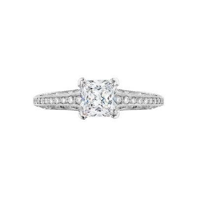 Tacori 2616PR55 Classic Crescent Platinum Princess Cut Engagement Ring