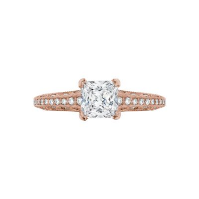 Tacori 2616PR55-PK Classic Crescent Rose Gold Princess Cut Engagement Ring