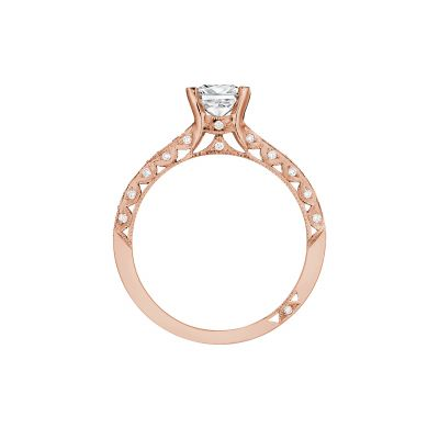 Tacori 2616PR55-PK Rose Gold Princess Cut Engagement Ring side