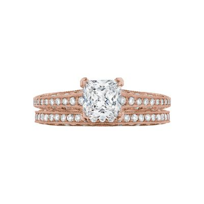 Tacori 2616PR55-PK Rose Gold Princess Cut Pave Set Engagement Ring set