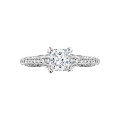Tacori 2616PR55-W Classic Crescent White Gold Princess Cut Engagement Ring