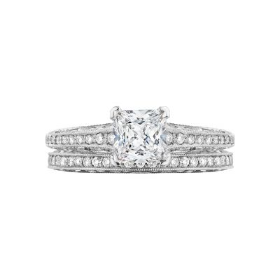 Tacori 2616PR55-W White Gold Princess Cut Classic Engagement Ring set