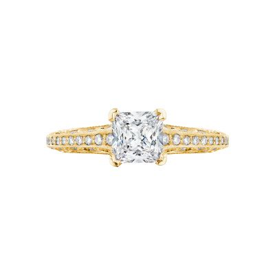 Tacori 2616PR55-Y Classic Crescent Yellow Gold Princess Cut Engagement Ring