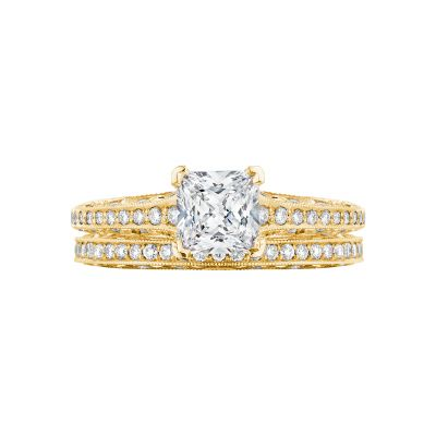 Tacori 2616PR55-Y Yellow Gold Princess Cut Classic Engagement Ring set