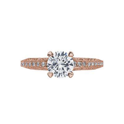 Tacori 2616RD65PK Classic Crescent Rose Gold Round Engagement Ring