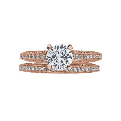 Tacori 2616RD65PK Rose Gold Round Pave Engagement Ring set