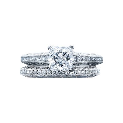Tacori 2617PR White Gold Princess Cut Unique Style Engagement Ring set