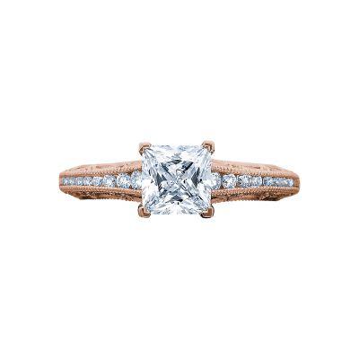 Tacori 2617PR55-PK Reverse Crescent Rose Gold Princess Cut Engagement Ring