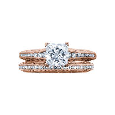 Tacori 2617PR55-PK Rose Gold Princess Cut Vintage Style Engagement Ring set