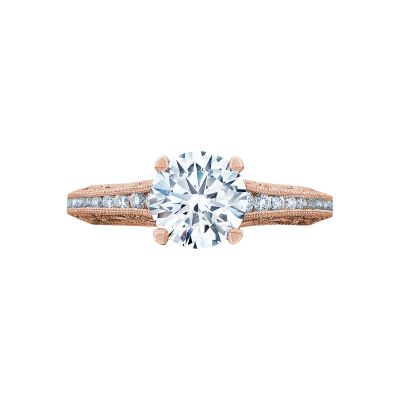Tacori 2617RD65PK Reverse Crescent Rose Gold Round Engagement Ring