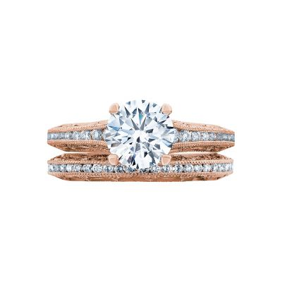 Tacori 2617RD65PK Rose Gold Round Vintage Classic Engagement Ring set