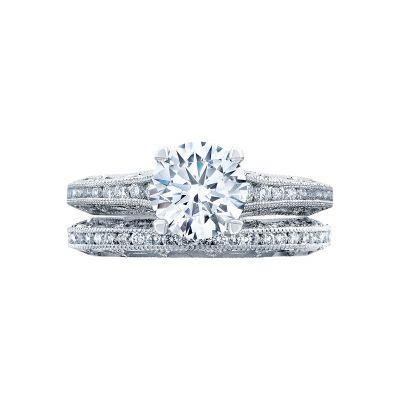Tacori 2617RD7 Platinum Round Vintage Style Engagement Ring set