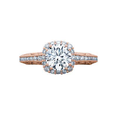 Tacori 2618CU65-PK Reverse Crescent Rose Gold Round Engagement Ring