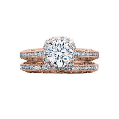 Tacori 2618CU65-PK Rose Gold Round Beautiful Halo Engagement Ring set