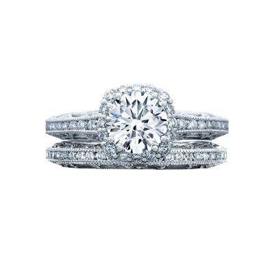 Tacori 2618CU65 Platinum Round Halo Engagement Ring set